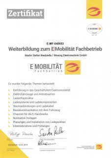 Zertifikat: E-Mobilität Fachbetrieb