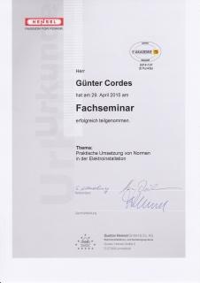Zertifikat: Umsetzung von Normen