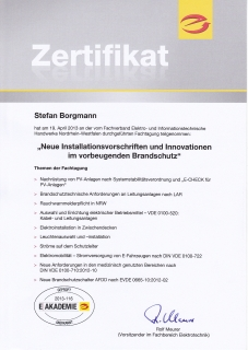 Zertifikat: Installationsvorschriften und vorbeugender Brandschutz