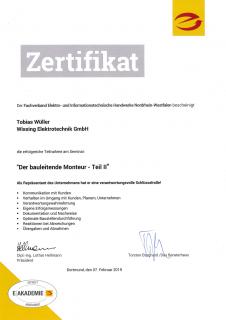 Zertifikat: Der bauleitende Monteur 2-2