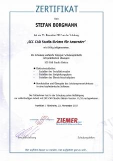 Zertifikat: SCC-CAD Studio Elektro für Anwender
