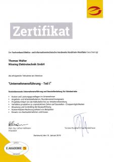 Zertifikat: Unternehmensführung 1
