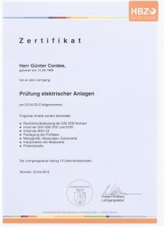 Zertifikat: Prüfung elektrischer Anlagen