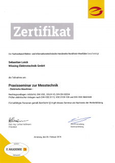 Zertifikat: Praxisseminar zur Messtechnik 1