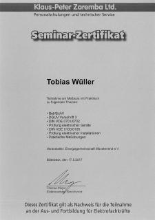 Zertifikat: Messkurs mit Praktikum
