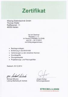 Zertifikat: Projektierung und Bau von Schaltanlagen
